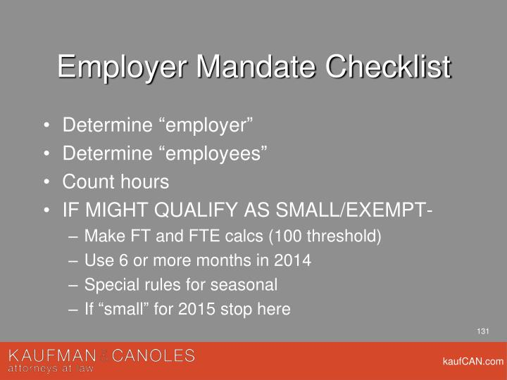 Employer Mandate Checklist