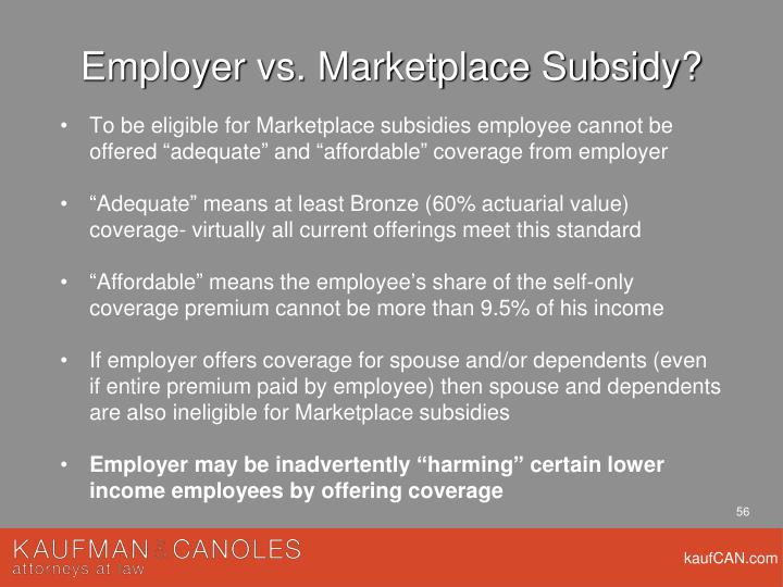 Employer vs. Marketplace Subsidy?