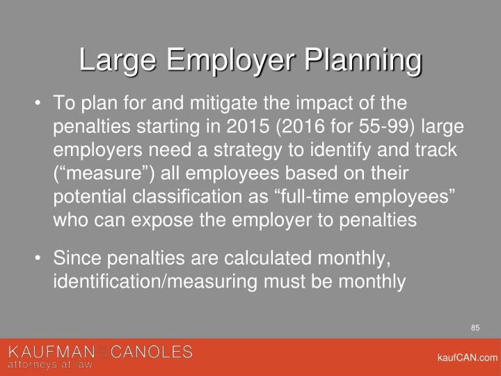 Large Employer Planning