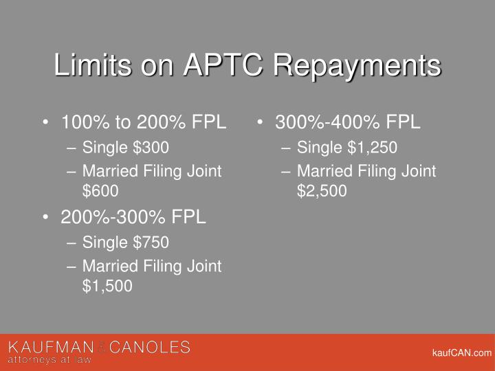 Limits on APTC Repayments