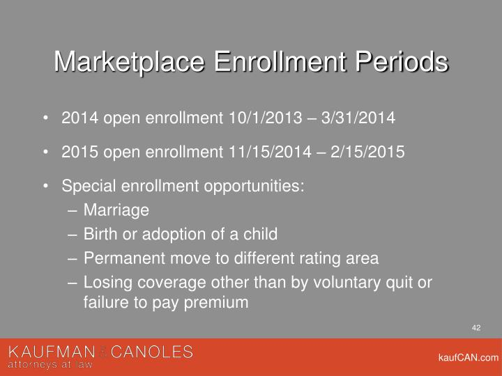 Marketplace Enrollment Periods