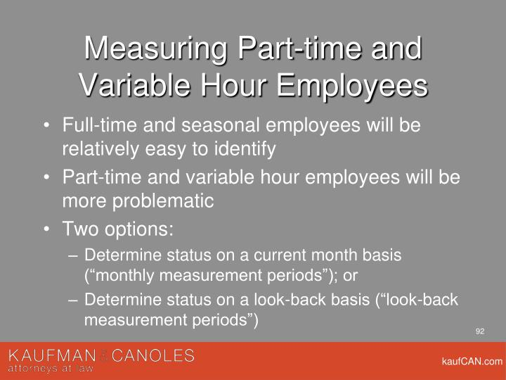 Measuring Part-time and Variable Hour Employees