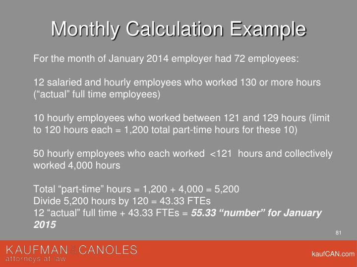 Monthly Calculation Example