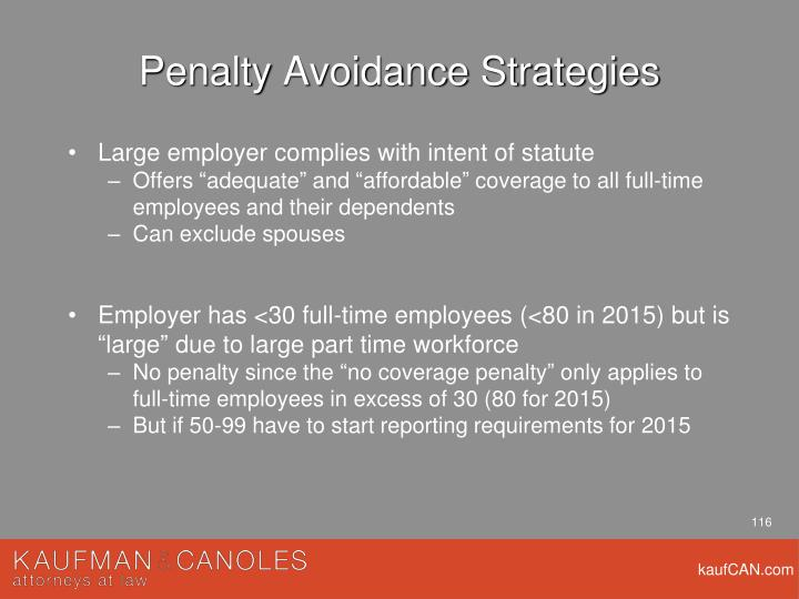 Penalty Avoidance Strategies