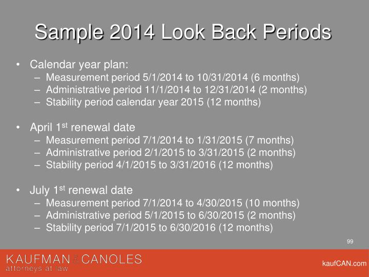 Sample 2014 Look Back Periods