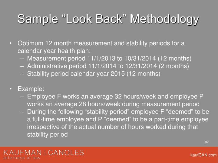 "Sample ""Look Back"" Methodology"