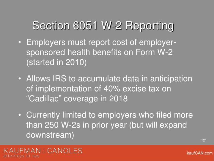 Section 6051 W-2 Reporting