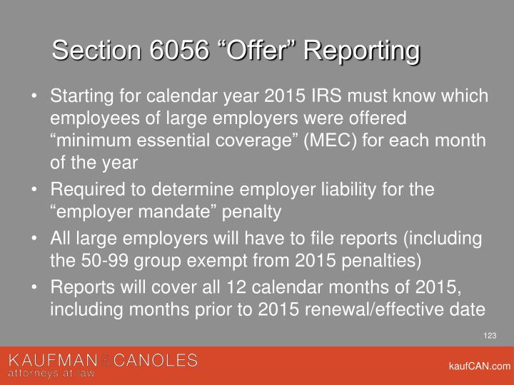 "Section 6056 ""Offer"" Reporting"