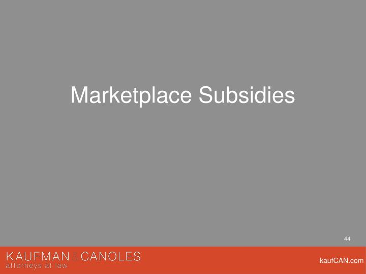 Marketplace Subsidies