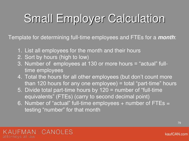 Small Employer Calculation