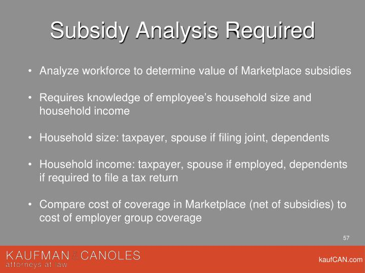 Subsidy Analysis Required