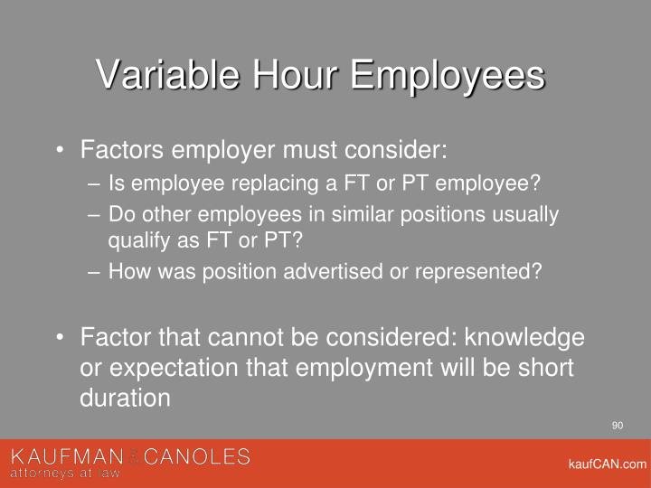 Variable Hour Employees