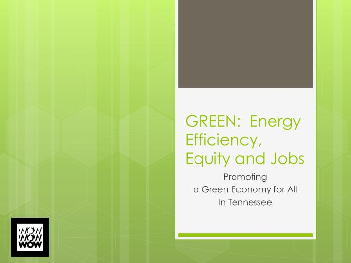 Green energy efficiency equity and jobs