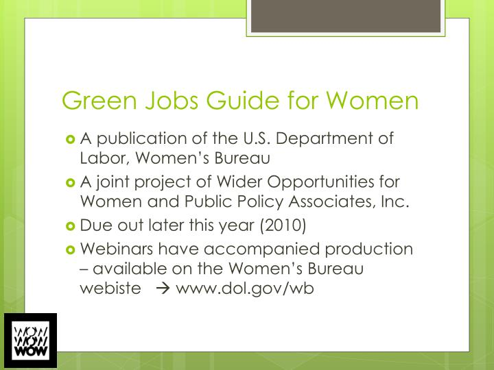 Green Jobs Guide for Women