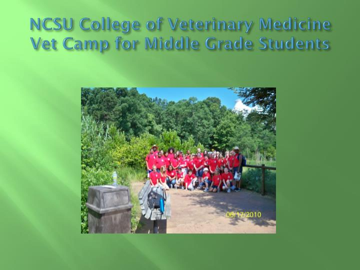 NCSU College of Veterinary Medicine Vet Camp for Middle Grade Students