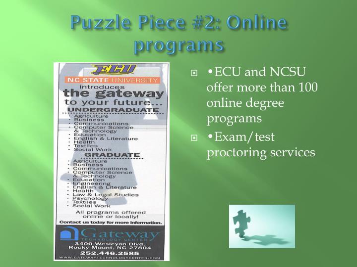 Puzzle Piece #2: Online programs