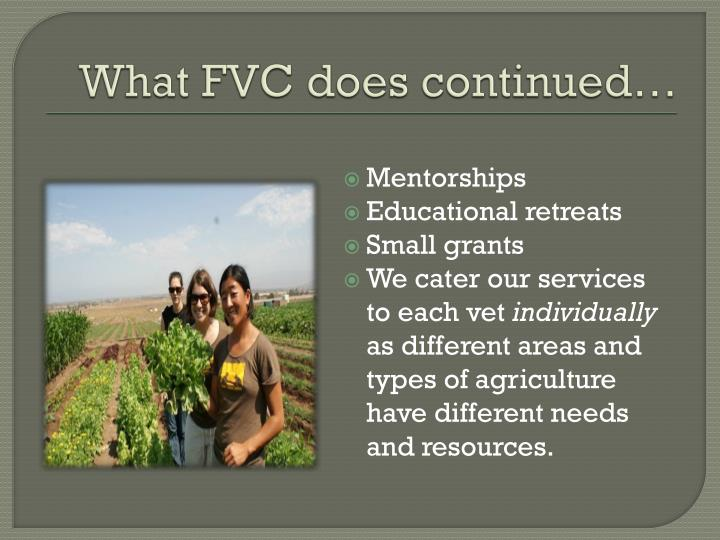 What FVC does continued…