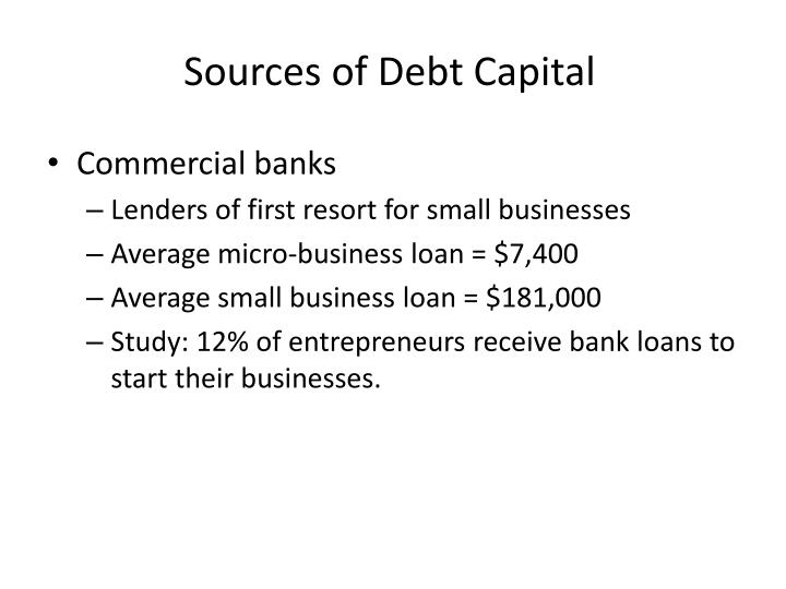 Sources of Debt Capital