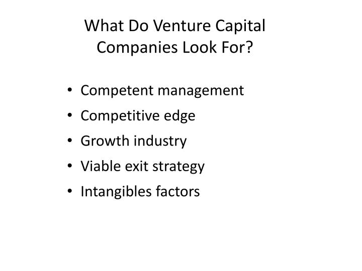 What Do Venture Capital