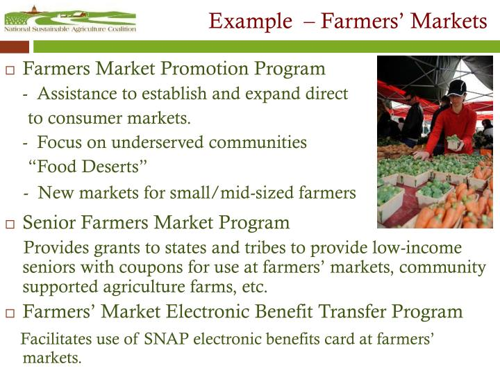 Example  – Farmers' Markets