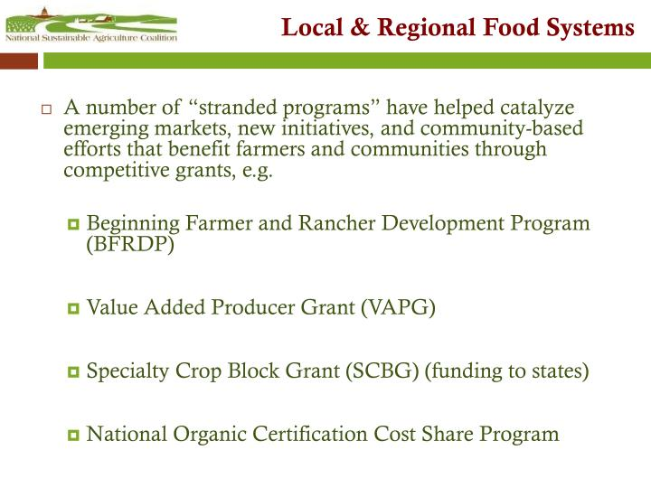 Local & Regional Food Systems