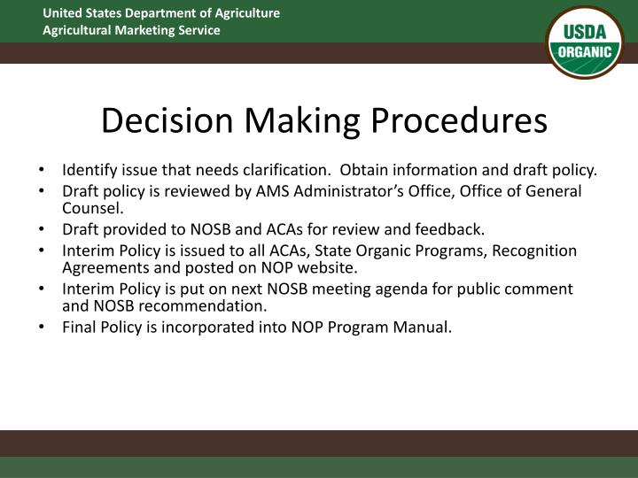 Decision Making Procedures