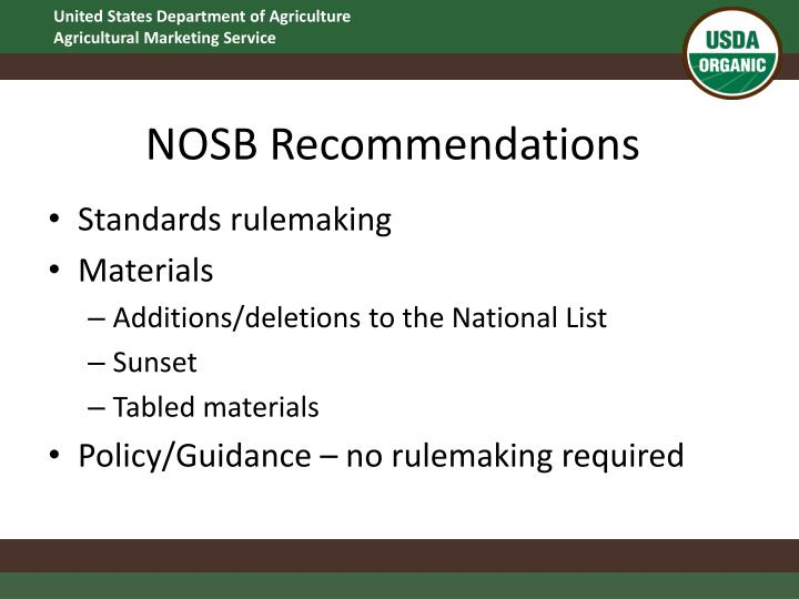 NOSB Recommendations