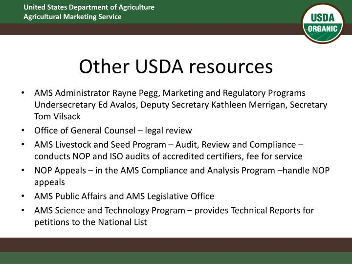 Other USDA resources