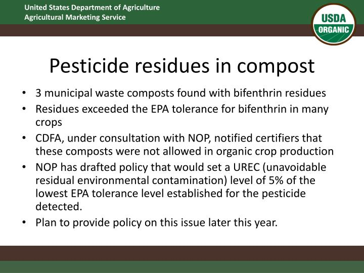 Pesticide residues in compost