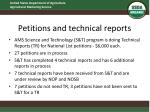 petitions and technical reports