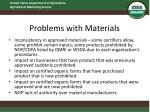 problems with materials