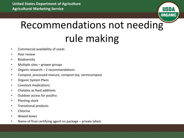 Recommendations not needing rule making