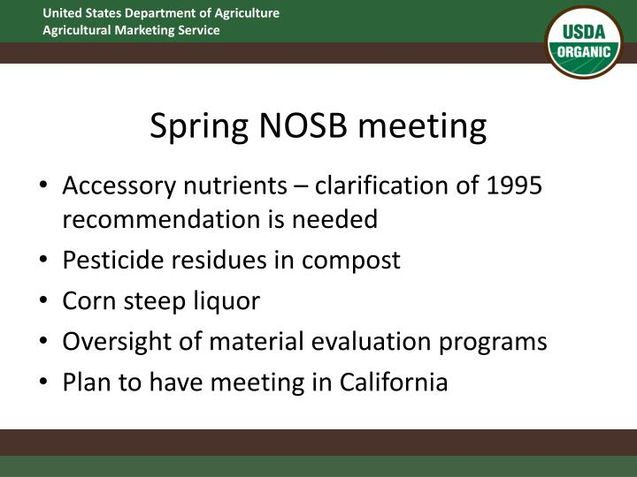 Spring NOSB meeting