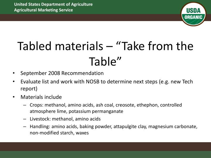 "Tabled materials – ""Take from the Table"""