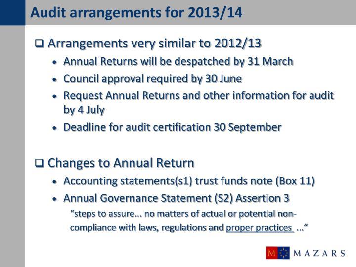 Audit arrangements for 2013/14