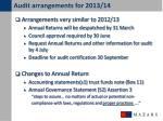 audit arrangements for 2013 14
