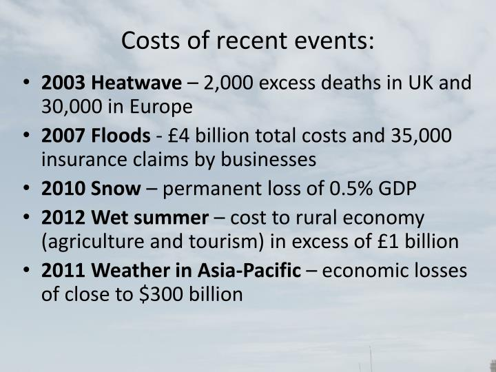 Costs of recent events:
