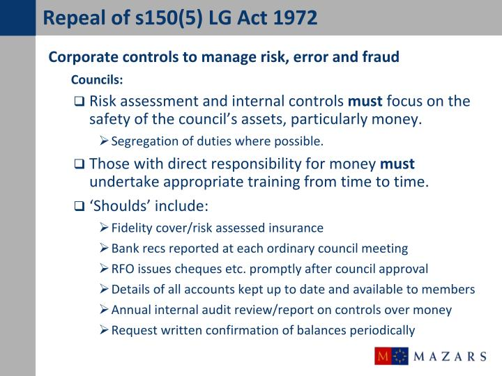 Repeal of s150(5) LG Act 1972