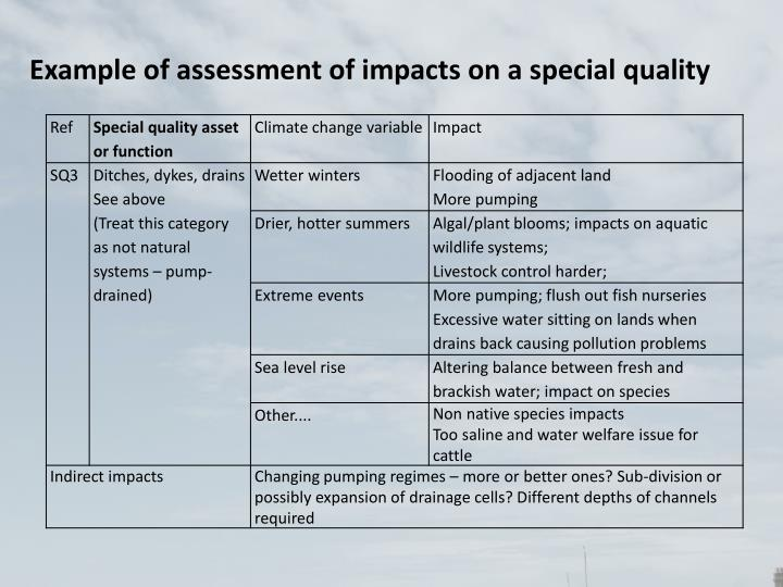 Example of assessment of impacts on a special quality