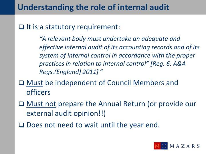 Understanding the role of internal audit