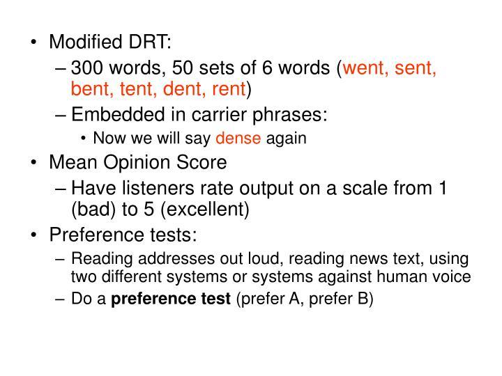 Modified DRT: