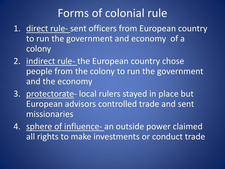 Forms of colonial rule