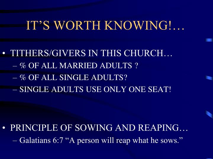 IT'S WORTH KNOWING!…