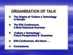 organisation of talk