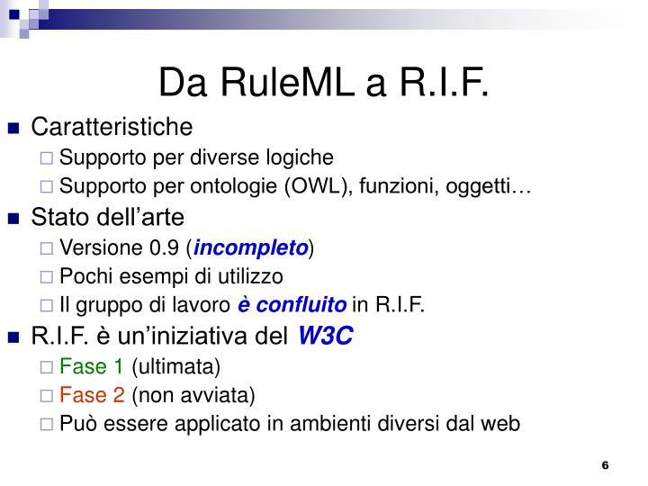 Da RuleML a R.I.F.