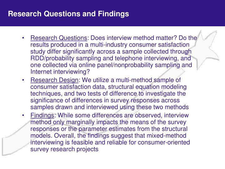 Research questions and findings