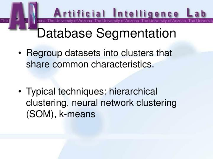Regroup datasets into clusters that share common characteristics.