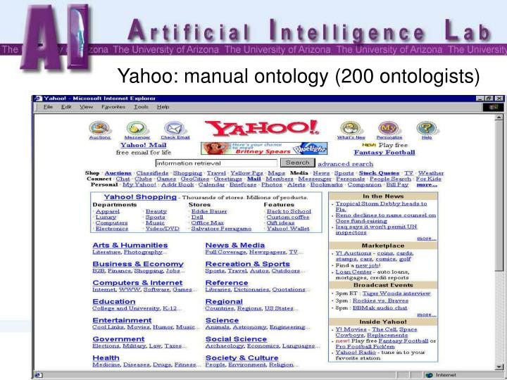 Yahoo: manual ontology (200 ontologists)