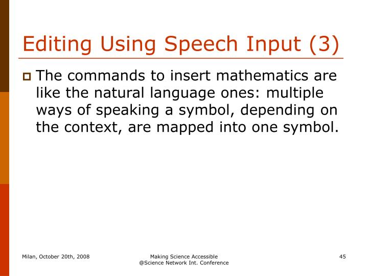 Editing Using Speech Input (3)