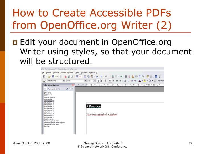 How to Create Accessible PDFs from OpenOffice.org Writer (2)